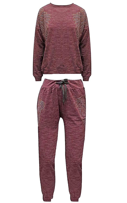 Rimi Hanger Womens Diamante Angel Wing Sweatshirt Bottom Joggers Tracksuit Co-Ord 2 Pcs Set Small/X Large