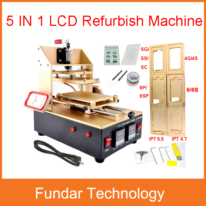 5 in 1 machine for Samsung Middle Bezel Separator +for Iphone Frame Laminator +Vacuum LCD Separator +Glue Remover +Preheater