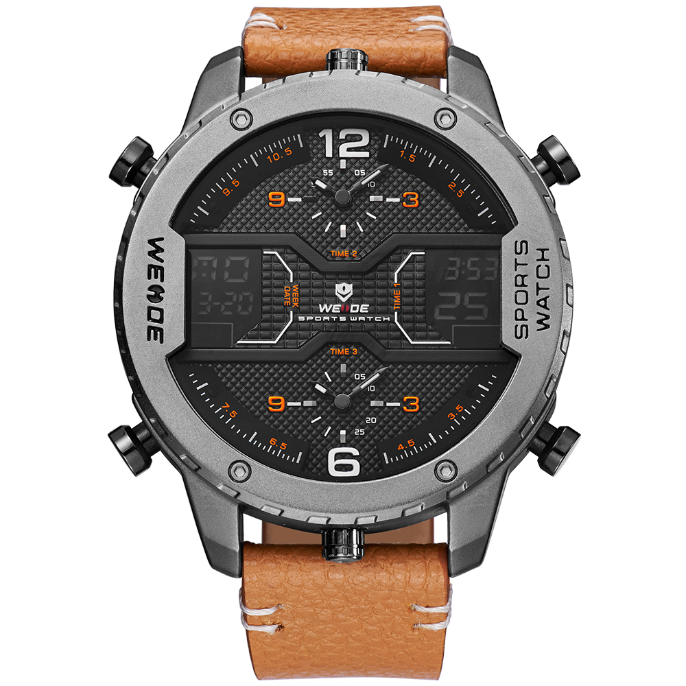 2018 weide wh6401 custom <strong>men's</strong> fashion 3atm waterproof lcd analog digital sports genuine leather wrist watches for <strong>men</strong>