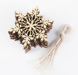 Pack of 10 pcs Merry Christmas Tree Hanging White Snowflake Ornaments Decoration Christmas Holiday Party Home Decor (Wood Color)