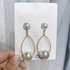 Xus fashion 925 sterling gold jewelry earring 2019 new arrivals big beads pearl alloy earring