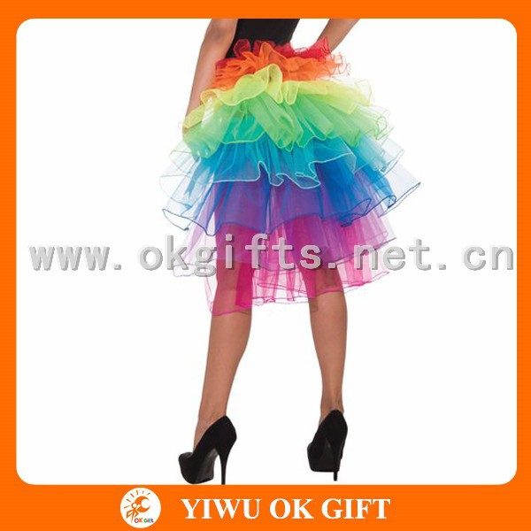 Rainbow color Sexy glee cheerleader costume with leg warmers
