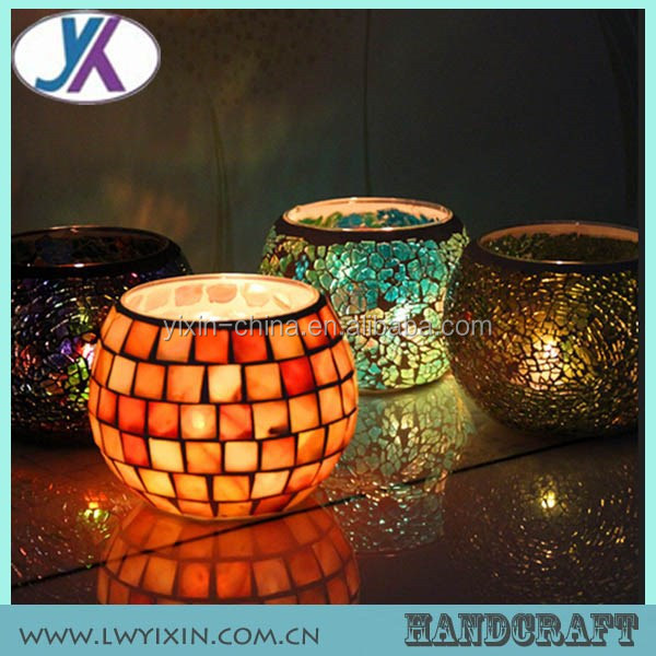 Cheap multi colour rustic glass mosaic candle holders uk