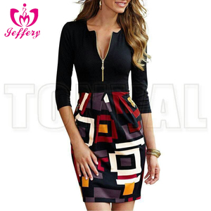 Europe and the United States hot new Slim package hip dress ladies mosaic suit color dress C021