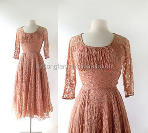 Women Pink Lace Long Sleeve Fall Dress 1940s Vintage Clothing