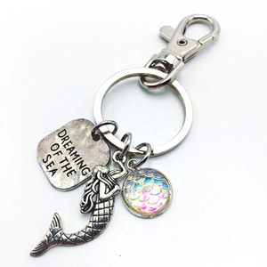 Promotion Fish Shaped Combined 3D Metal Mermaid Keychain