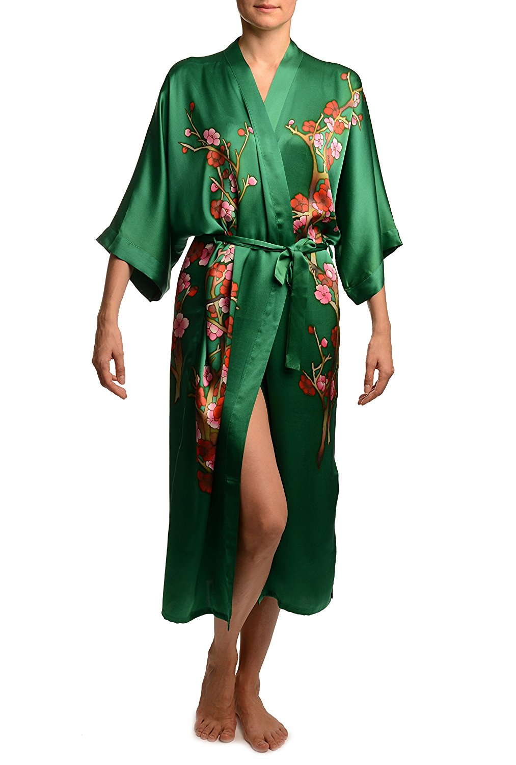 88629a902057 Get Quotations · Green with Sakura Bloom Luxurious Silk Dressing Gown (Robe)  - Dressing Gown