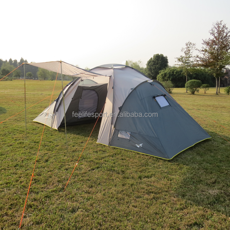 polyester fabric fiberglass 3 room 6person family tent for camping