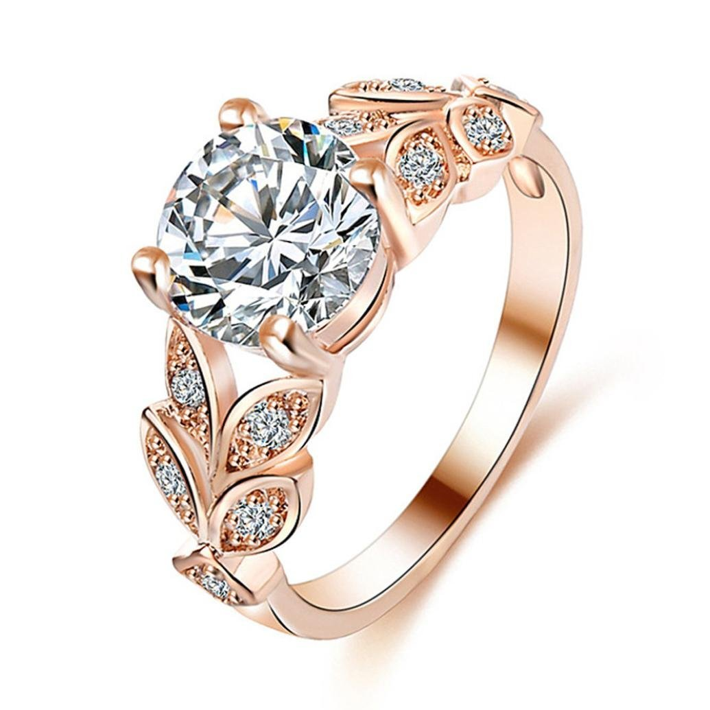 Challyhope Exquisite Inlaid Flower Zircon Wedding Ring Engagement Promise Rings For Girls Women (Rose Gold, 8)
