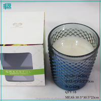 FJ-GB116EBox wholesale blue colored and raised scented glass jar with scented oil candle making natural coconut wax