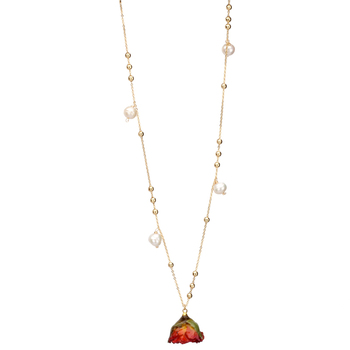fashion necklace pearl rose flower luxury rose gold fresh water pearl necklace real rose necklace