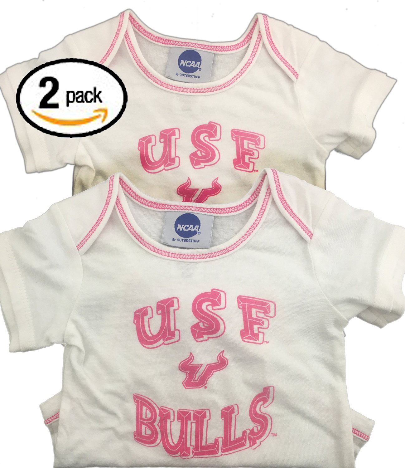 OuterStuff Bundle Pack of 2 USF Bulls Girls Onesies for 0 to 3 Months Old