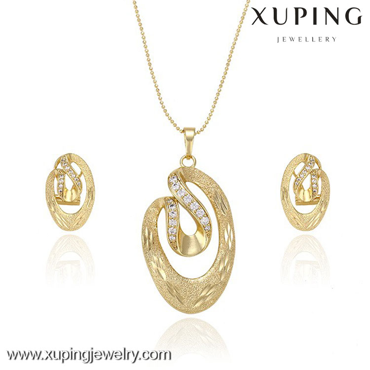 63360 Xuping Jewelry Unique Design Necklace Set Stylish Fake Gold ...