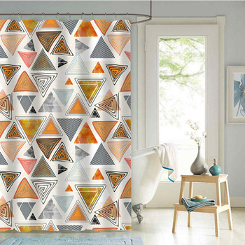 Shower Curtain Tarpaulin Polyester Bath Mildew Proof, Free Punching Shower Curtain Geometry/