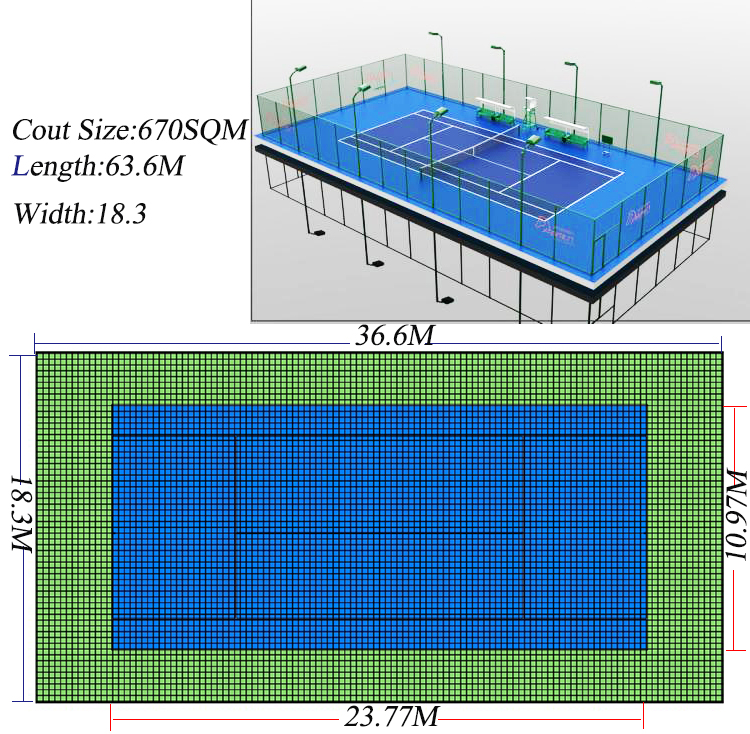 Low cost indoor plastic mini tennis court mat / tennis plastic flooring underlay