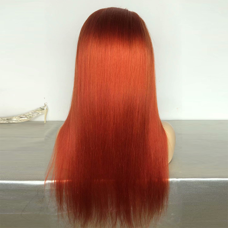 Wholesale long straight orange human hair wig fashion orange lace front wig orange bob wig 150% density фото