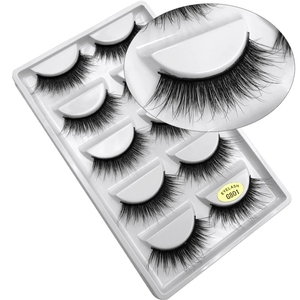 wholesale price handmade nature eyelashes thick long false eye lashes set 5 pairs