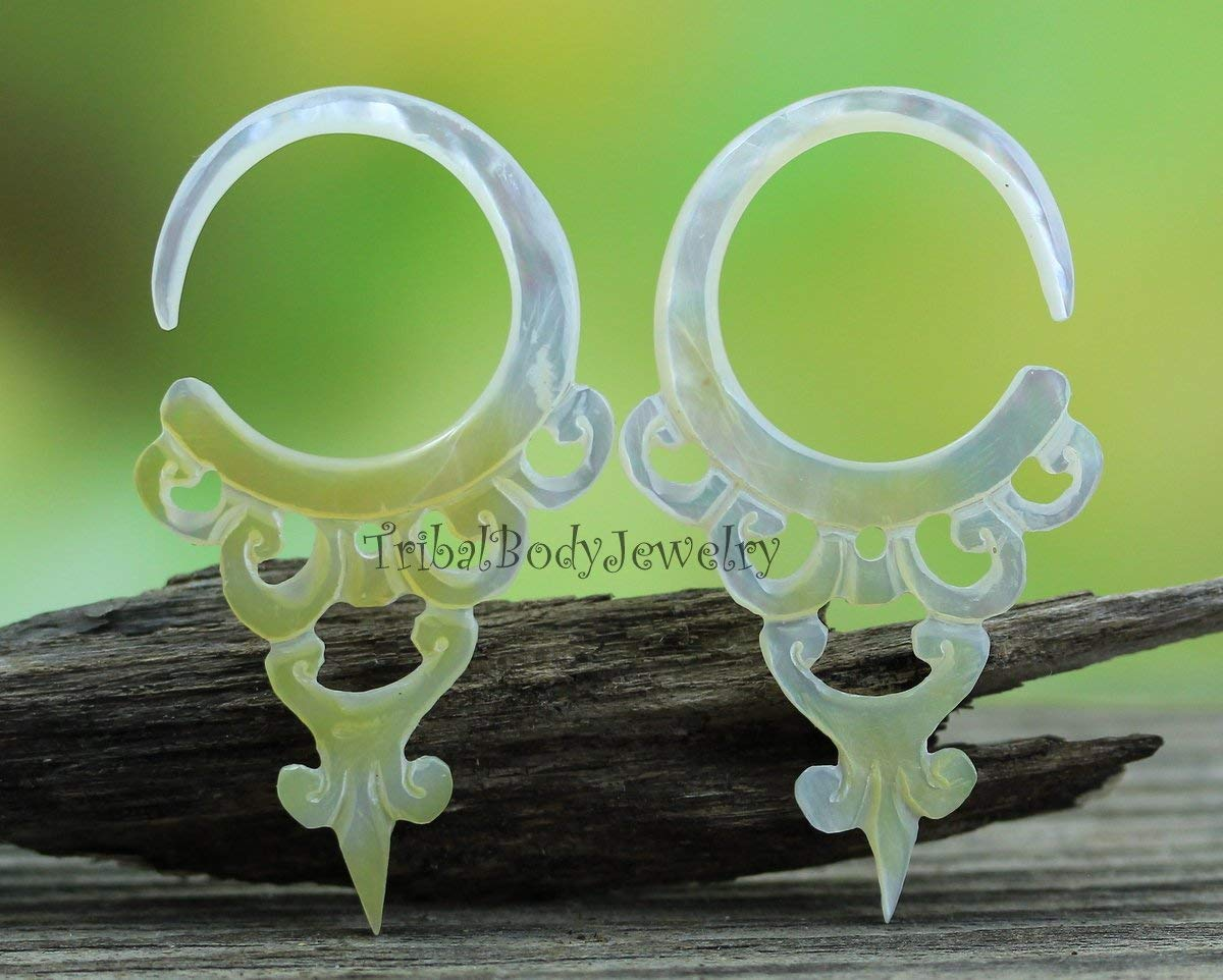 10G Stretcher Earrings - Tribal Style Hand Carved Body Jewelry from AAA Mother of Pearl Shell, 10ga