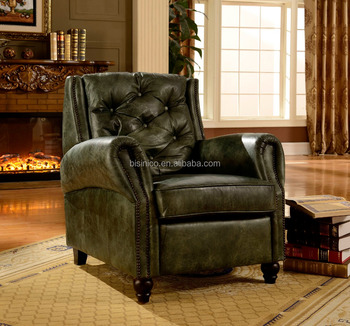 Luxurious Vintage Style Living Room Genuine Leather Chair/Chesterfield  Leather Recliner Sofa