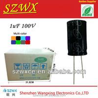 Low price 100v 1uf aluminum electrolytic capacitor for general purpose