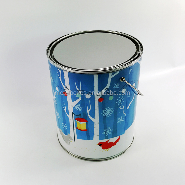 Best Selling Round Printed Christmas Gift PVC/PE Bucket With Metal Tin Lid/Bottom