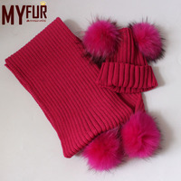 Myfur Knitted Long Winter Scarf with Two Real Raccoon Fur Pompoms
