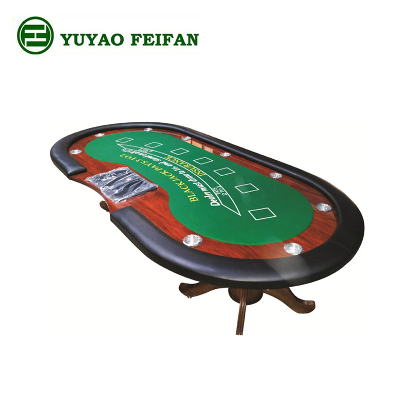 Professional Wooden Casino Poker Baccarat Table With Cup Holders