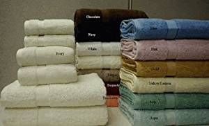 6 PIECE SOLID COMBED TOWEL SET. COLORS AVAILABE: WHITE, IVORY, TAUPE, BLACK, LIT-BLUE, BLUSH-PINK, SAGE-GREEN, JADE, GOLD, NAVY, BURGUNDY, TERRACOTTA OR CHOCOLATE