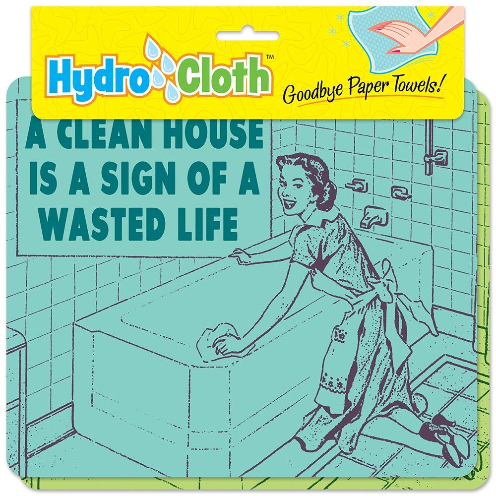 """Clean House"" Hydro Cloths   Eco-friendly Sponge Cloths   Reusable Swedish Dish Cloths   Set of 2 printed Sponge Cloths   Kitchen, bath, auto   Replaces 30 rolls of paper towels   Machine Wash"