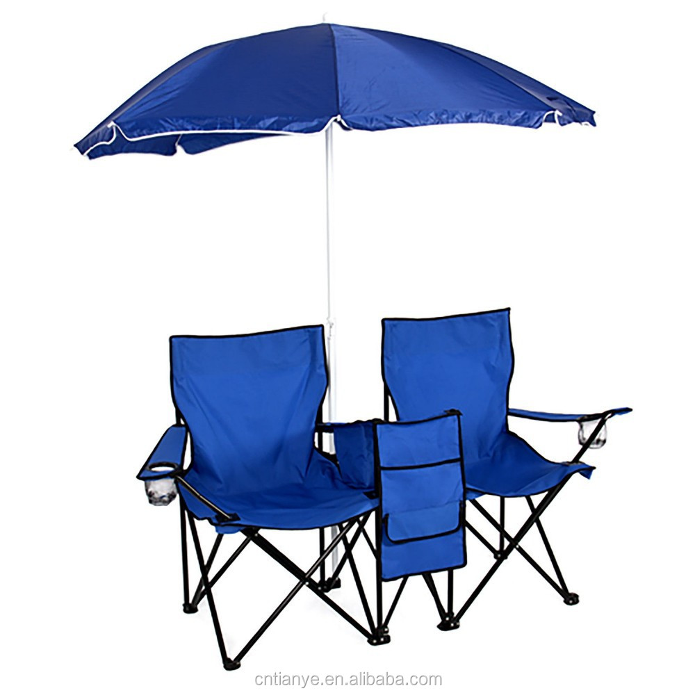 Remarkable Picnic Double Folding Chair W Umbrella Table Cooler Fold Up Beach Camping Chair Buy Double Folding Chair With Umbrella Twin Beach Chair Beach Spiritservingveterans Wood Chair Design Ideas Spiritservingveteransorg