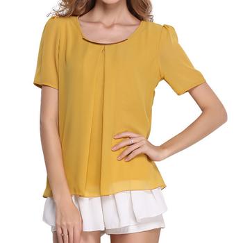 a52bec224e7193 Plus Size Women Blouse Girls Summer Chiffon Tops New Design White Clothes