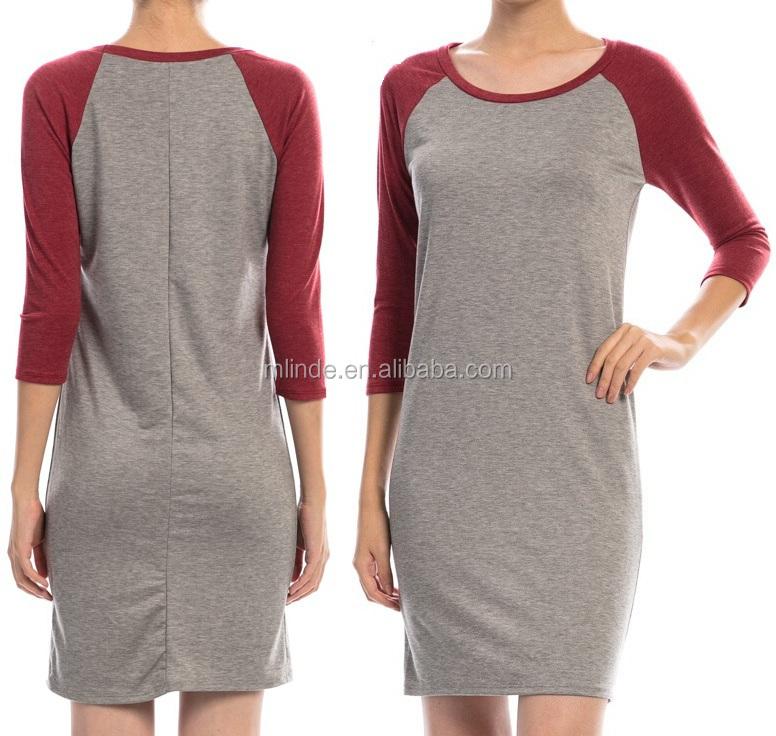 Colorblock Baseball Casual Dress,Wholesale Women Cotton Baseball ...