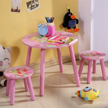 Cartoon Wood Study Table And Chair Set For Child Preschool Activity Table