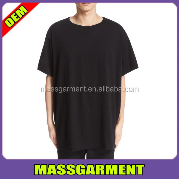 MS-1716 Black Oversized Extended Plain T shirts Mens Long Tee For Tall Men