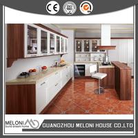 Glass door white door with breakfast table kitchen wall pvc cabinet