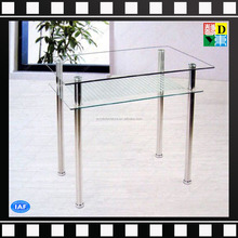 New design clear 2 layers living room acrylic/plexiglass/lucite coffee/side/end table with stainless steel legs