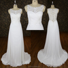 Real sample elegant wedding dress A line bridal gown lace applique ivory dress see through back pictures of ladies gown for sale