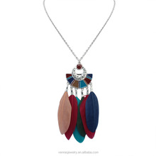 Fashion Long Chain Multicolor Owl Pendant Necklaces With Feather Crystal Bead Tassel Women New Accessories Charm Jewelry