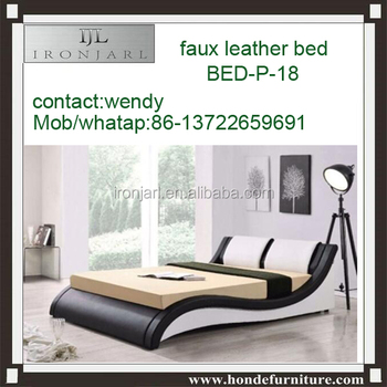 New Night Lit Pu Noir Bed Blanc 160x200 Cm Buy Bedroom Bed