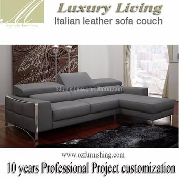 Dz1504 Modern Elegant Grey Genuine Full Leather Metal Feet Small
