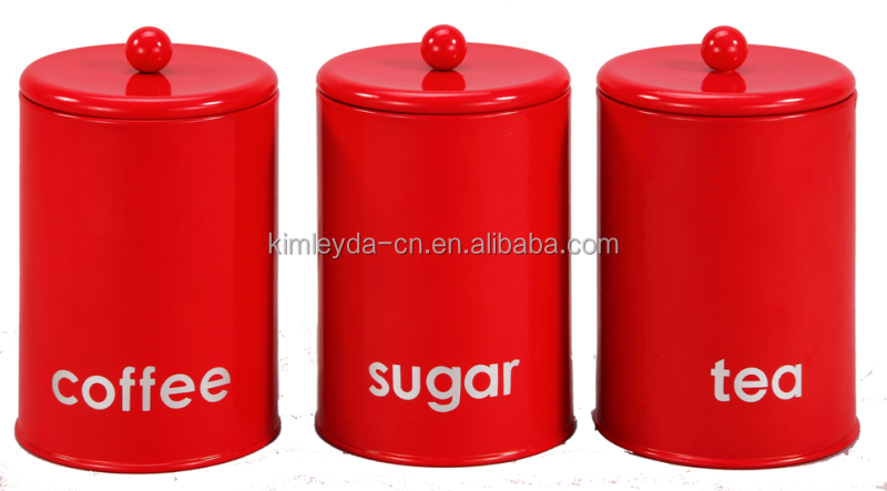Round Shape Tea Coffee Sugar Kitchen Canister Set In Red And Canisters Product On Alibaba