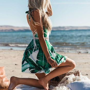 52b1ce42d650f Zh2396g Backless Fitted Slip Dress Green Tropical Print Sexy Women Summer  Dresses 2018 Plunge Neckline Bodycon Club Party Dress - Buy Short Party ...