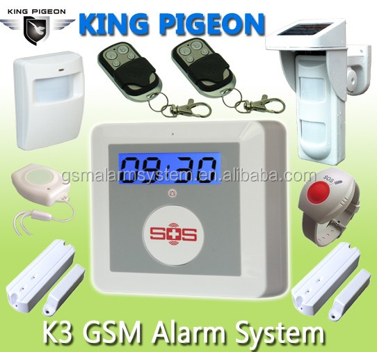 Hot!!!Metallic Color home alarm free call gsm with16 wireless zones + 9 zone types/1 wiredzone K3
