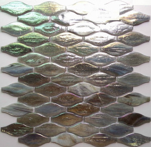 new design mesh backing fish scale glass mosaic tile