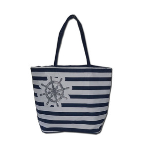 600D Polyester Souvenir Tote Bag Attractive print &Stripe Design Handbag Beach Bag for Woman