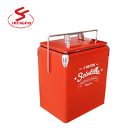 Factory printed 13L 17L vintage retro metal ice box ice chest cooler box with handle stainless steel box