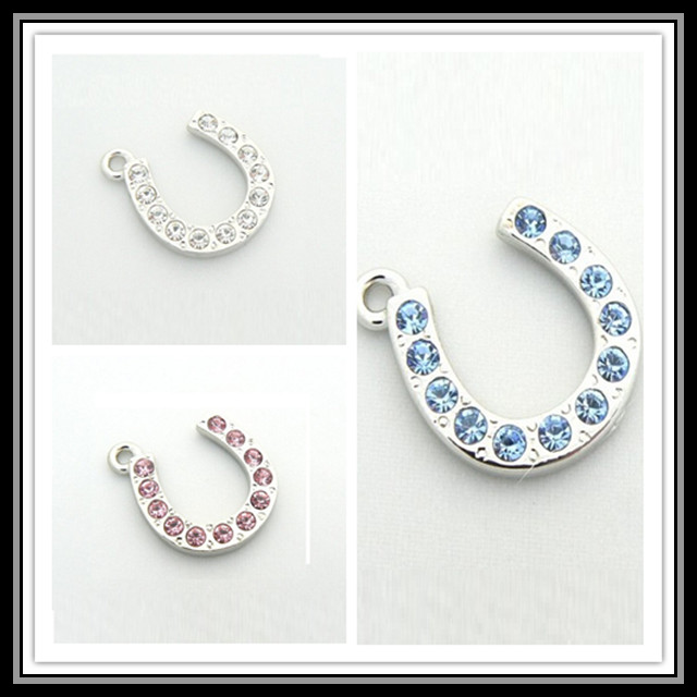 Factory cheap charm for necklace, pink crystal horseshoe charm