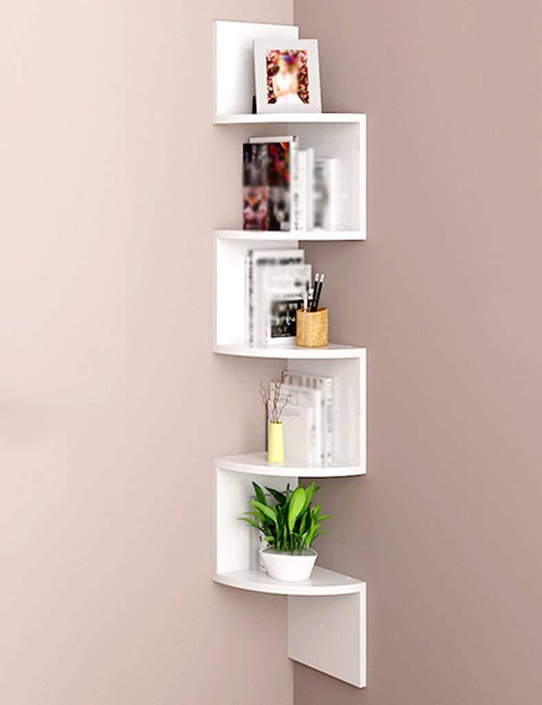 Get Quotations Shelves Curved 123cm Bookshelf Wall Hanging Floating 5 Tier Triangle Corner Shelf Partition CD DVD Storage