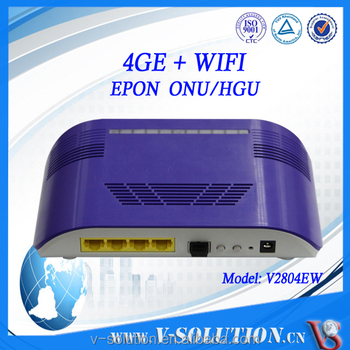 OEM CE Certificated Wireless FTTH EPON Modem 4GE and WiFi Ports GEPON ONU Support SNMP