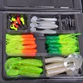 35pcs Soft Worm Bait Lures 10pcs Lead Jig Head Hooks Combination Set Simulation Suite Carp Fishing